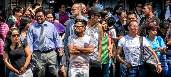 Detail of street crowd, Mexico City, 2014 (click through for full photo)